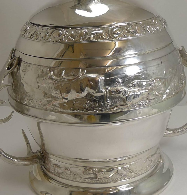 Grand Silver Plated Hunting Tureen by WMF, circa 1920, Signed For Sale 10