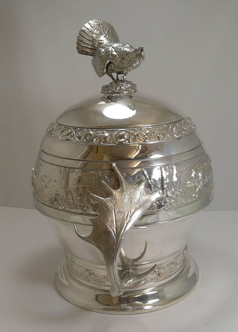 Grand Silver Plated Hunting Tureen by WMF, circa 1920, Signed For Sale 11