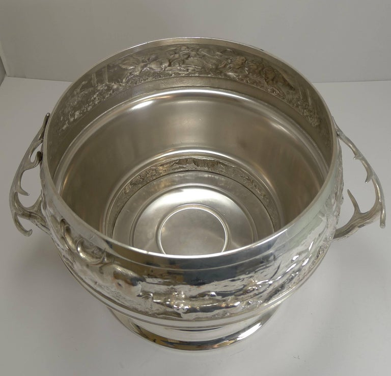 20th Century Grand Silver Plated Hunting Tureen by WMF, circa 1920, Signed For Sale