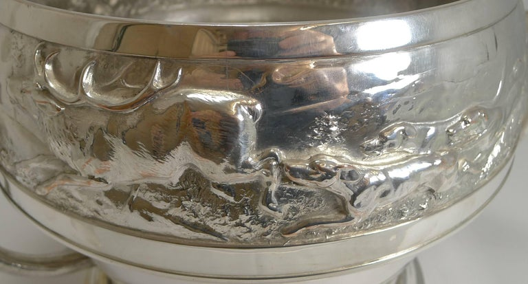 Grand Silver Plated Hunting Tureen by WMF, circa 1920, Signed For Sale 1