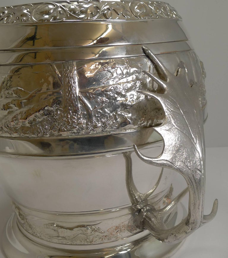 Grand Silver Plated Hunting Tureen by WMF, circa 1920, Signed For Sale 4
