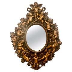 Grand Size Antique Finely Carved Walnut Mirror
