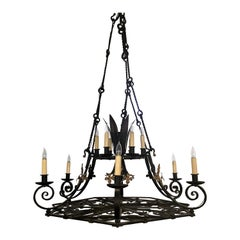 Grand Size Antique French Wrought Iron Chateau Chandelier, circa 1840