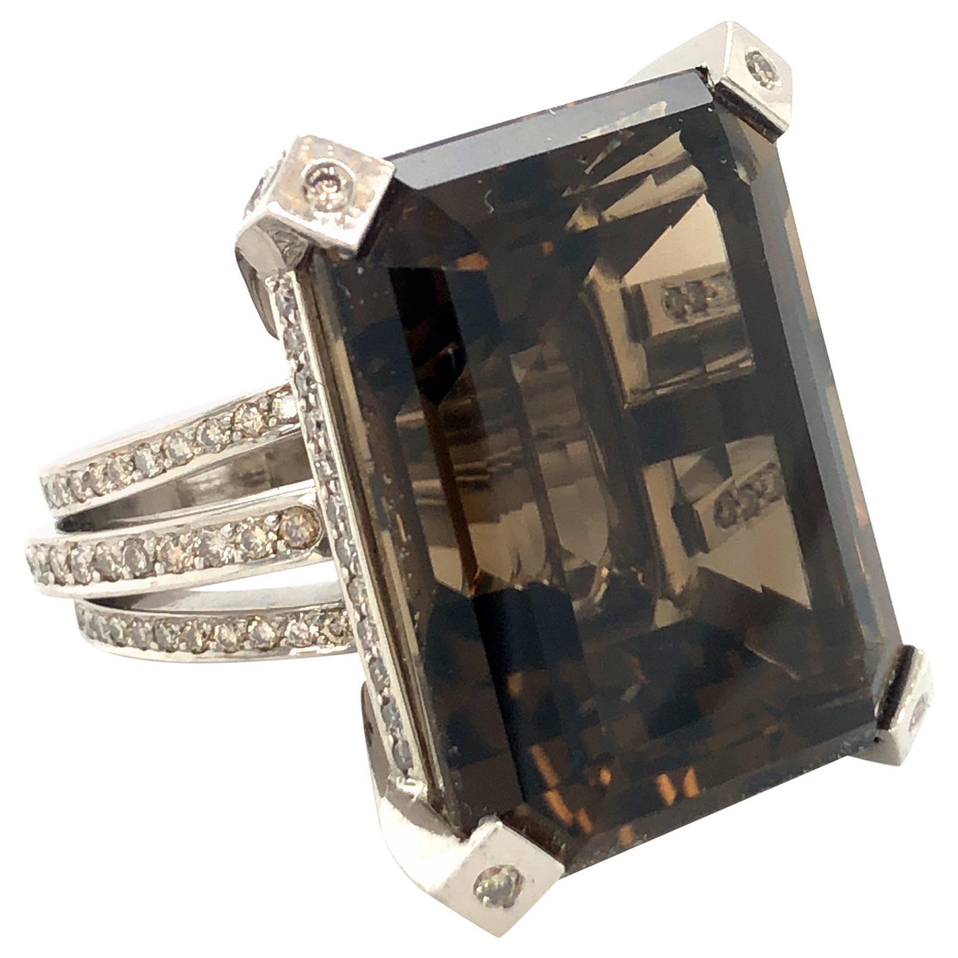 Grand Smoky Quartz and Diamond Cocktail Ring in 18 Karat White Gold