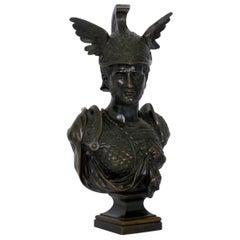 """Grand Tour Antique Bronze Sculpture """"Bust of Achilles"""", 19th Century"""