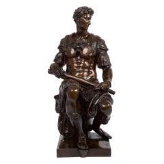 Grand Tour Antique Bronze Sculpture of Giuliano de Medici after Michelangelo