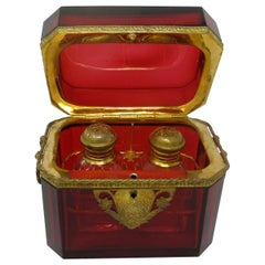 Grand Tour Bohemian Crystal Gilt Bronze Cranberry Glass Scent Bottle Casket Box