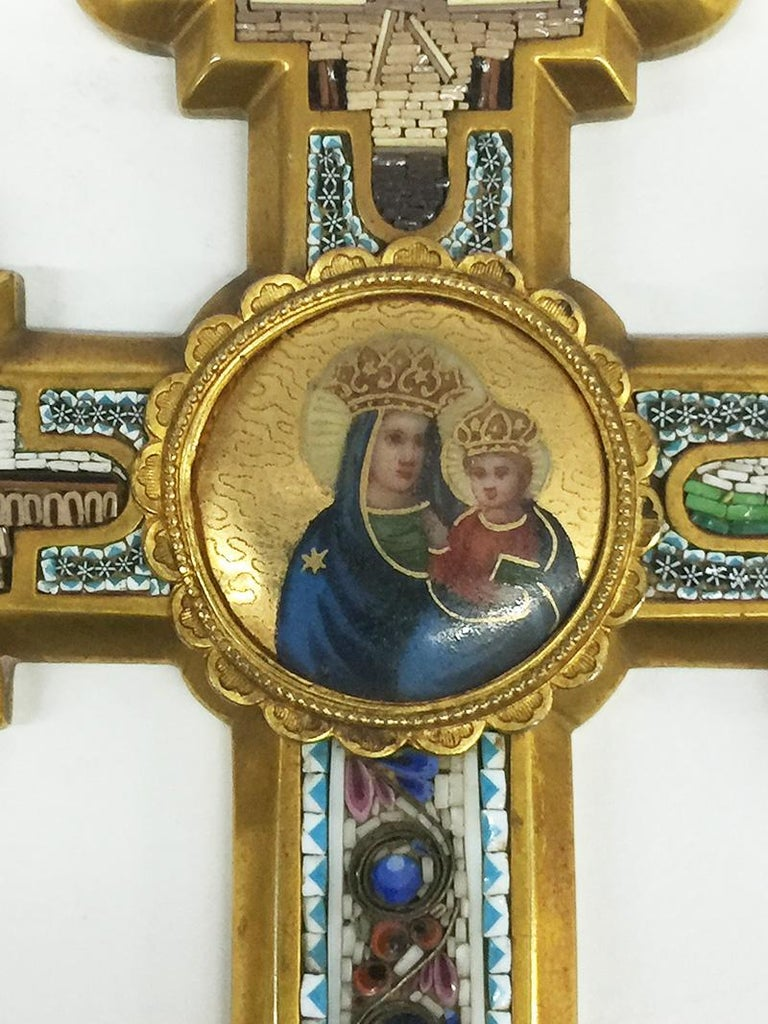 Grand Tour micro mosaic cross, Italy