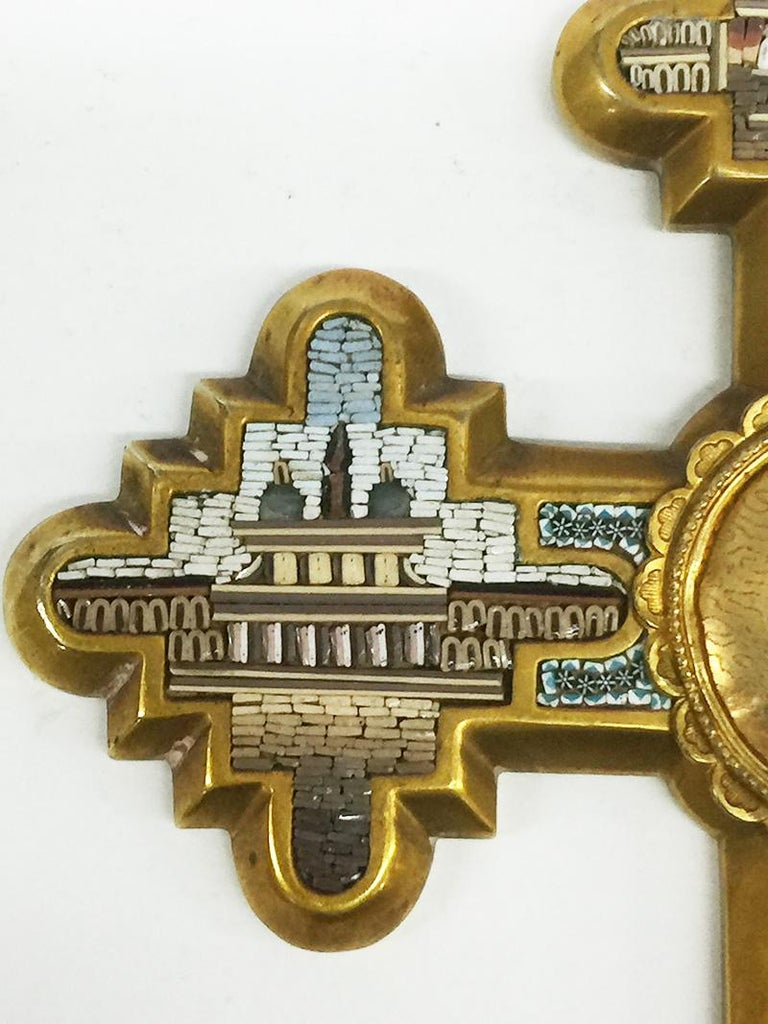 Italian Grand Tour Brass Micro Mosaic Cross, Italy For Sale
