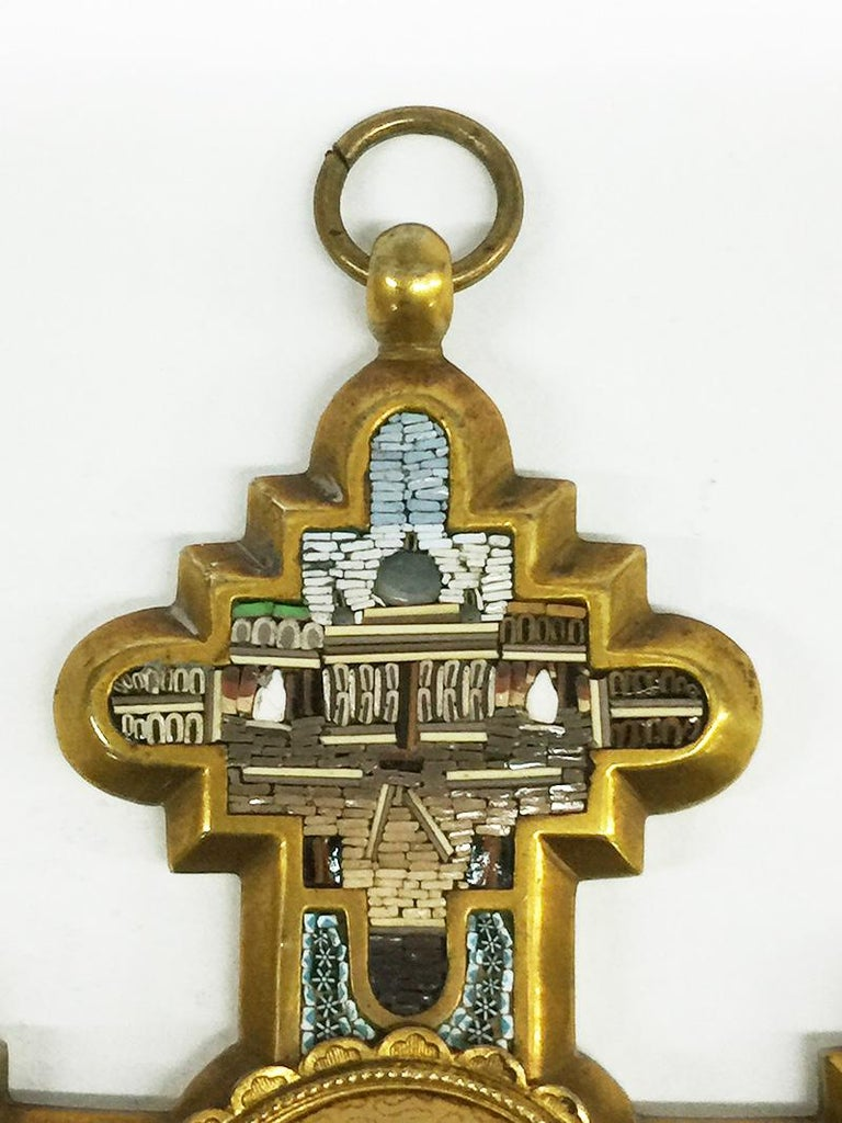 Grand Tour Brass Micro Mosaic Cross, Italy In Good Condition For Sale In Delft, NL