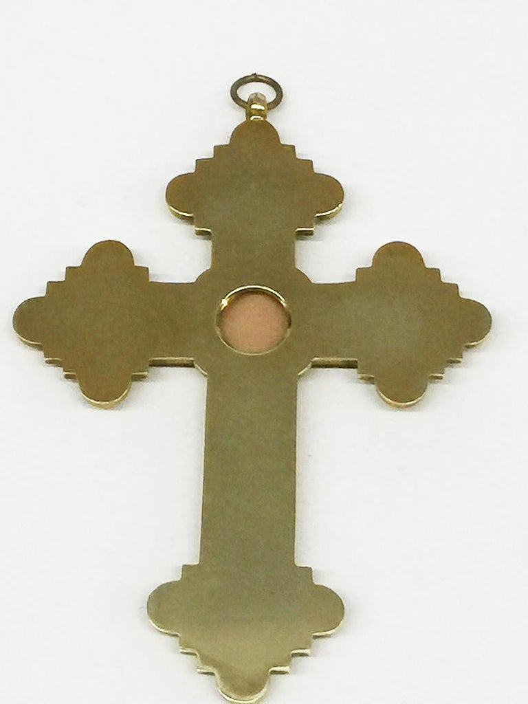 Grand Tour Brass Micro Mosaic Cross, Italy For Sale 3