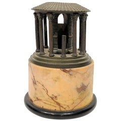Grand Tour Bronze Model of Temple Vesta Mounted on a Marble Base