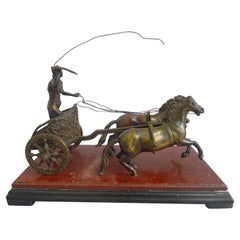 Grand Tour Bronze of Charioteer on Rouge and Black Marble Base