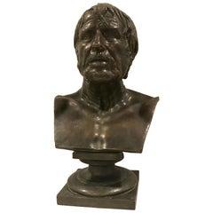 Grand Tour Bronze Portrait Bust of Seneca