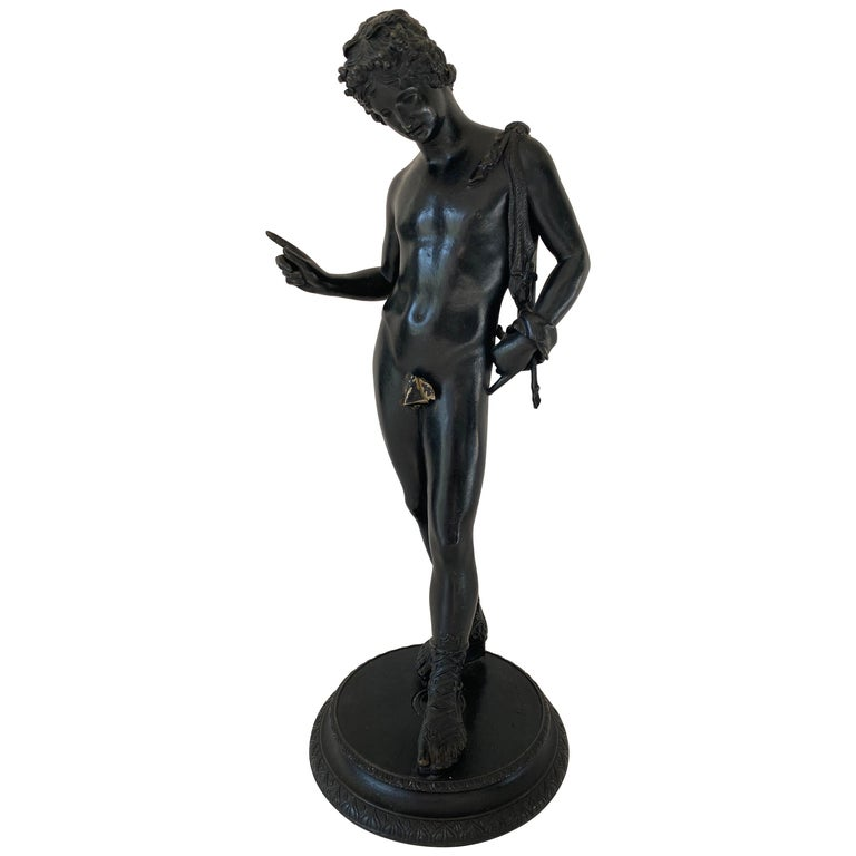 Grand Tour Bronze Statue of Narcissus For Sale