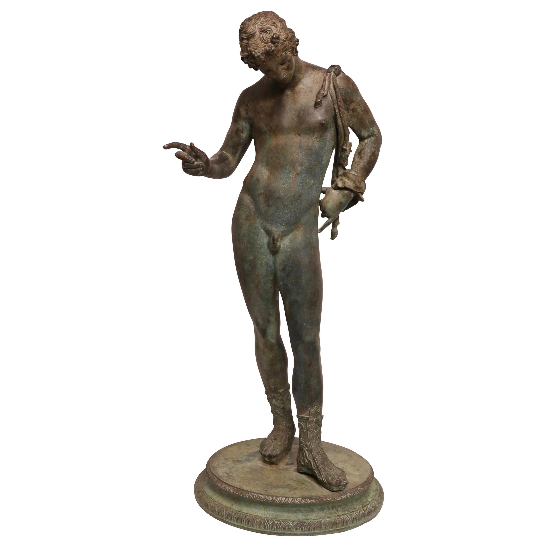 Grand Tour Bronze Statue of Narcissus, Italian 19th Century