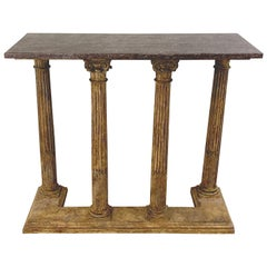 Grand Tour Carved Polychromed Wood Column and Marble Console Table