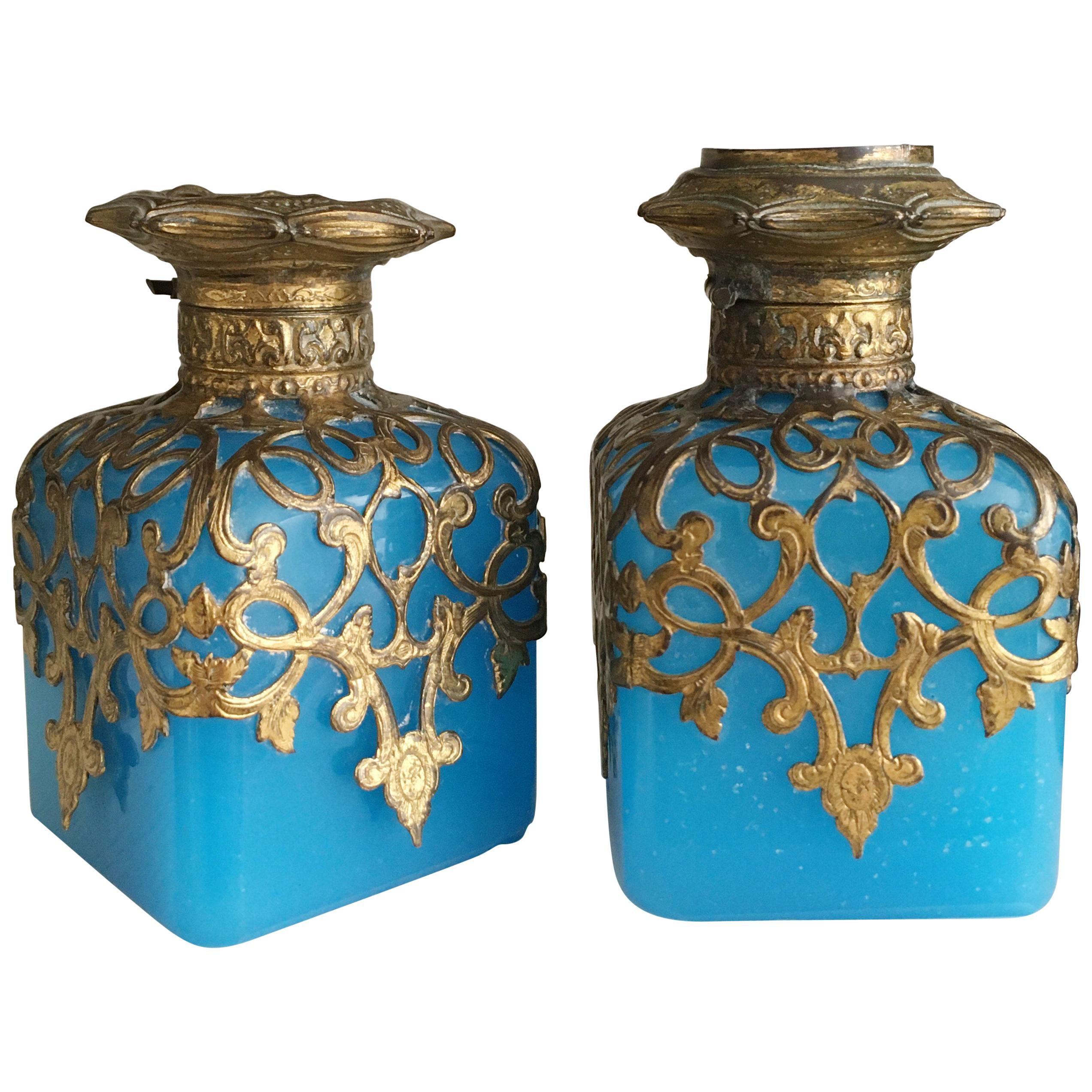 Grand Tour French Opaline Perfume Bottles, circa 1860