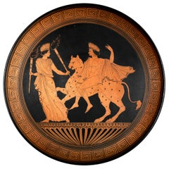 Grand Tour Greek Red Figure Pottery Charger Dish