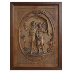 Grand Tour Hand Carved Boxwood Romantic Boy & Girl Under Palm Leaf Wall Plaque