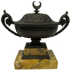 Grand Tour Italian French Bronze Urn Vase Sienna Marble Potpourri, 19th Century