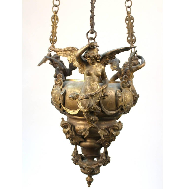 Grand Tour Italian Gilt Bronze Pendant Oil Lamp In Good Condition For Sale In New York, NY