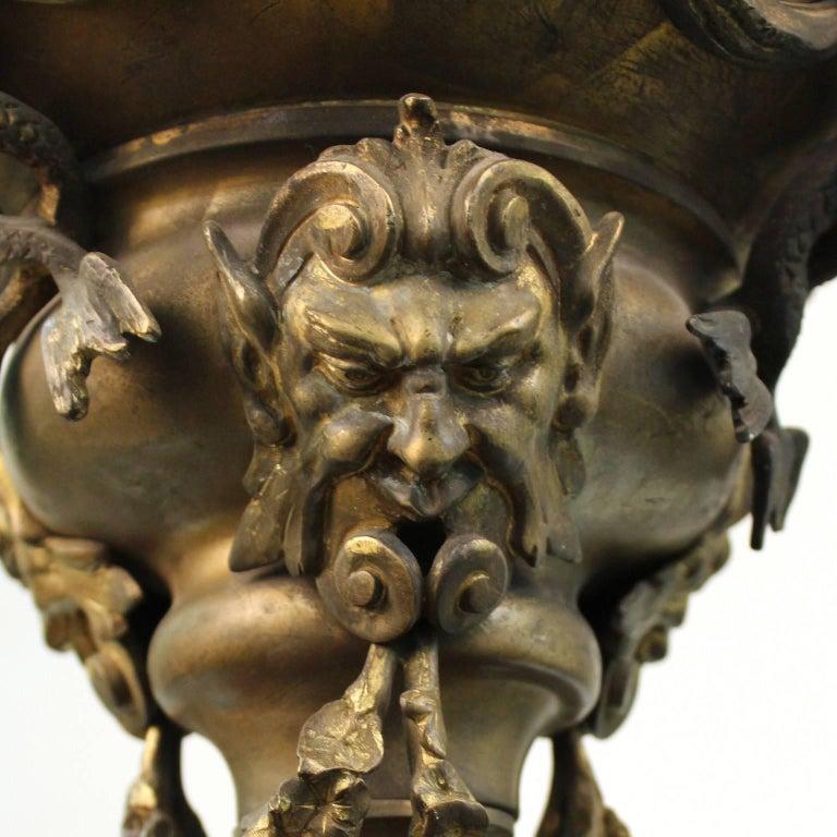 Grand Tour Italian Gilt Bronze Pendant Oil Lamp For Sale 5