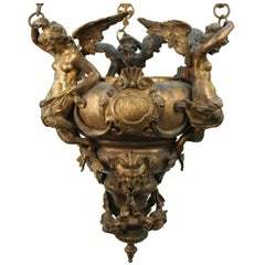 Grand Tour Italian Gilt Bronze Pendant Oil Lamp