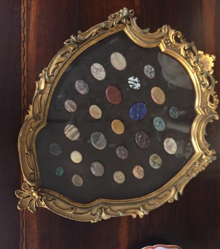 Grand Tour Italian Marble Specimen Pietra Dura Gilt Framed Panel, 19th Century For Sale 1