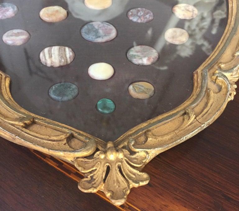 Grand Tour Italian Marble Specimen Pietra Dura Gilt Framed Panel, 19th Century For Sale 3