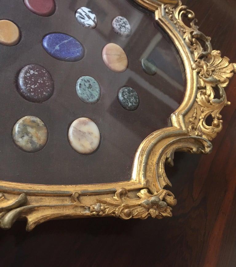 Grand Tour Italian Marble Specimen Pietra Dura Gilt Framed Panel, 19th Century For Sale 4