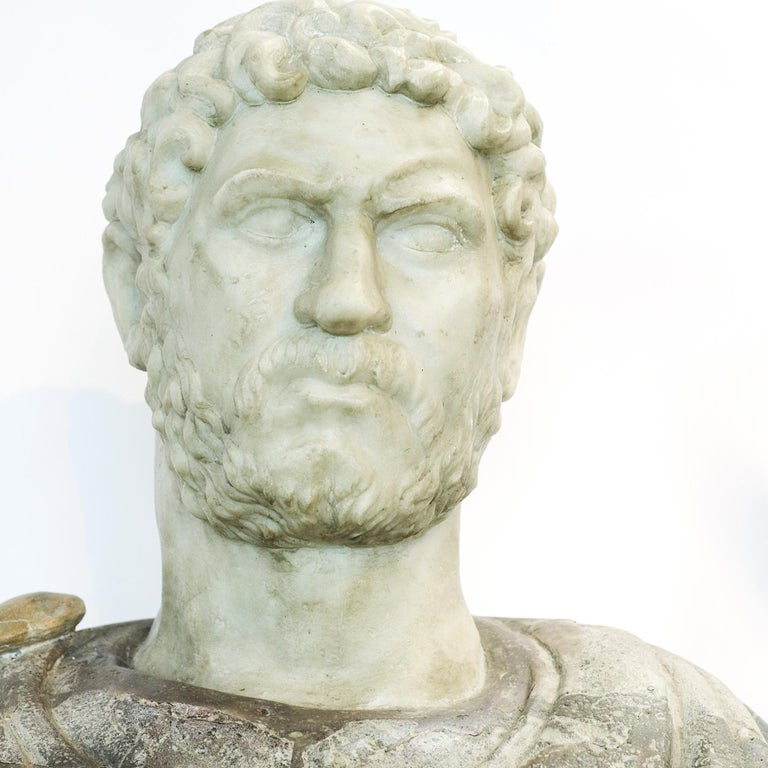 Italian marble sculpture bust of Emperor Hadrian (Aelius Traianus Hadrianus). Italy, 1700-1800. A very impressive portrait of the roman Emperor Hadrian. Head sculpted in white Statuario Carrara marble and bust in Pavonazzetto marble. Original