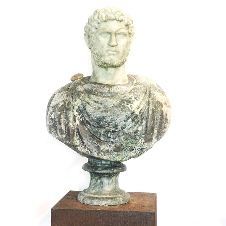 Grand Tour Marble Bust of Emperor Hadrian In Good Condition For Sale In Nordhavn, DK