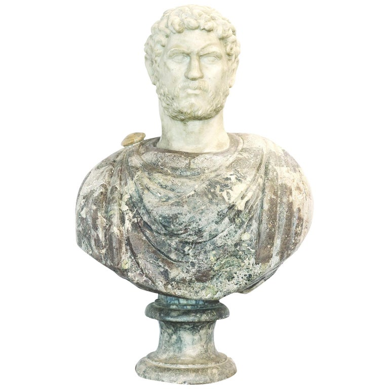 Grand Tour Marble Bust of Emperor Hadrian For Sale