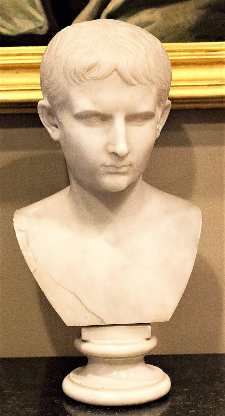 Grand Tour Marble Bust of Octavian 'Augustus Caesar' as a Boy, Italy, circa 1810 For Sale 5