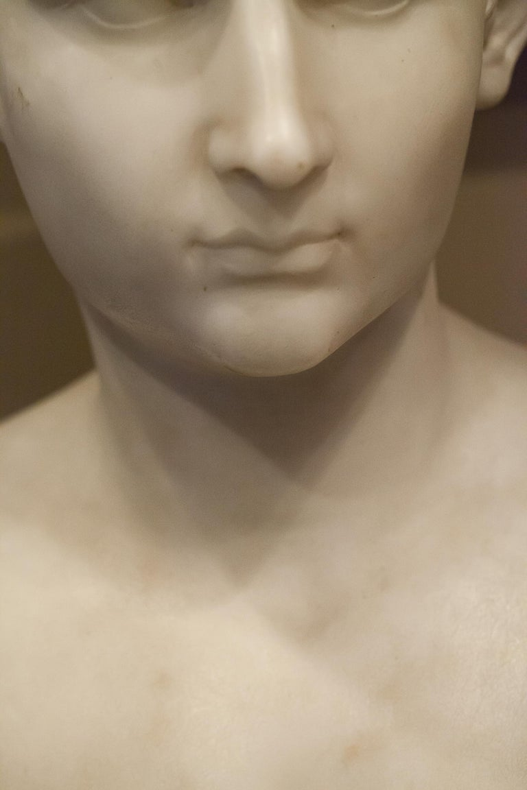 Classical Roman Grand Tour Marble Bust of Octavian 'Augustus Caesar' as a Boy, Italy, circa 1810 For Sale
