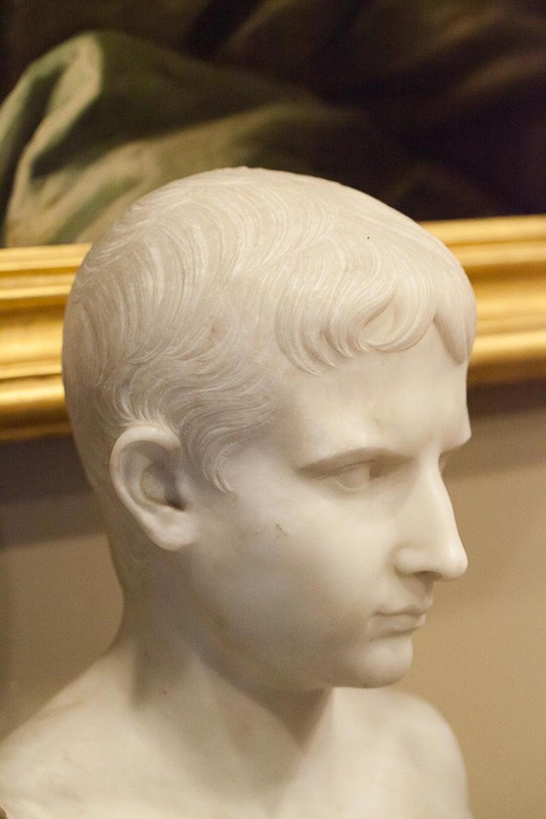 Italian Grand Tour Marble Bust of Octavian 'Augustus Caesar' as a Boy, Italy, circa 1810 For Sale