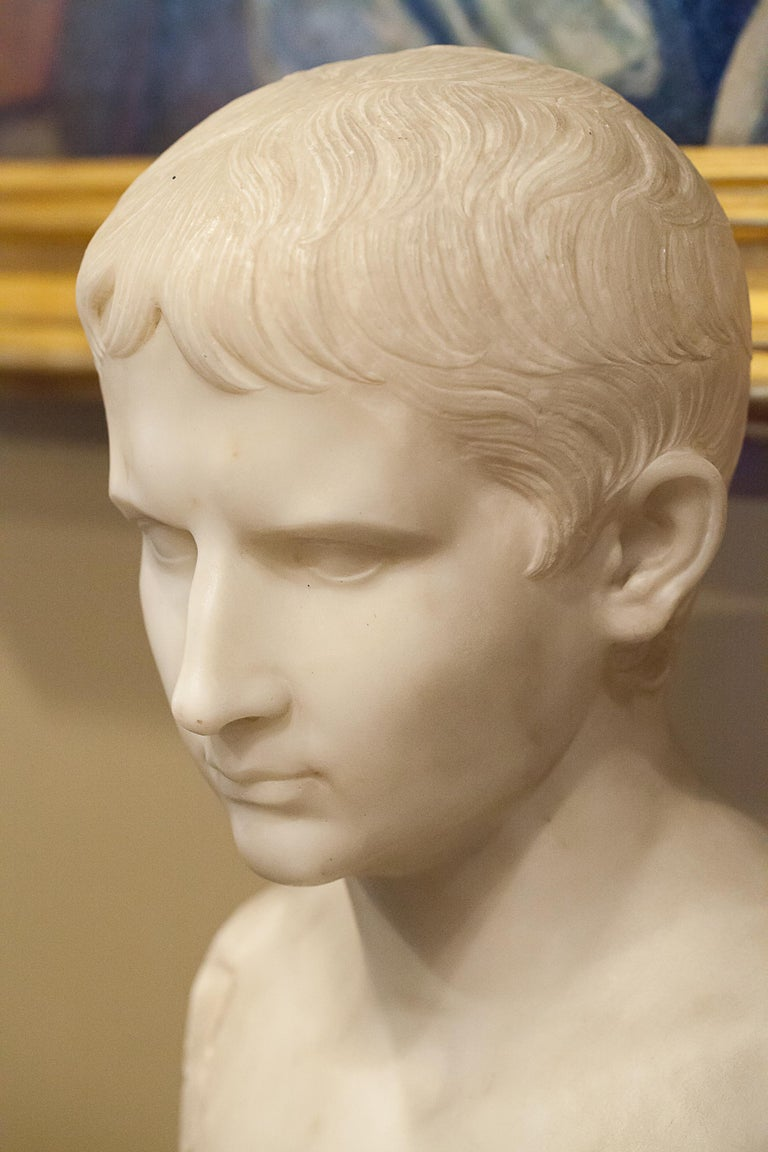 Hand-Carved Grand Tour Marble Bust of Octavian 'Augustus Caesar' as a Boy, Italy, circa 1810 For Sale