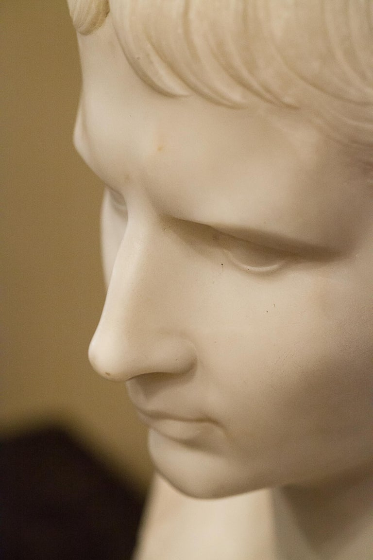 19th Century Grand Tour Marble Bust of Octavian 'Augustus Caesar' as a Boy, Italy, circa 1810 For Sale