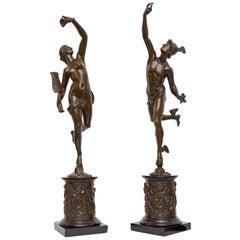 Grand Tour Mercury and Fortuna 19th Century Bronze a Pair