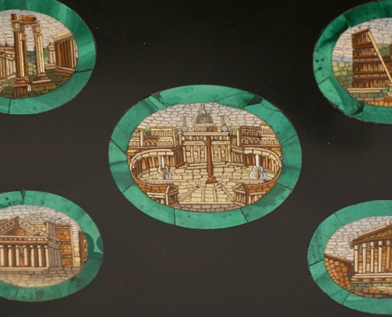 Grand Tour Micro Mosaic Paperweight Depicting 5 Ancient Roman Monuments In Good Condition For Sale In San Francisco, CA