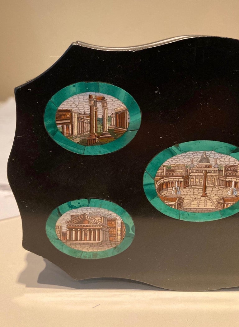 19th Century Grand Tour Micro Mosaic Paperweight Depicting 5 Ancient Roman Monuments For Sale