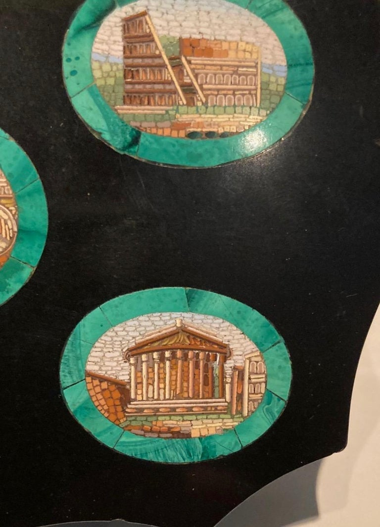 Glass Grand Tour Micro Mosaic Paperweight Depicting 5 Ancient Roman Monuments For Sale