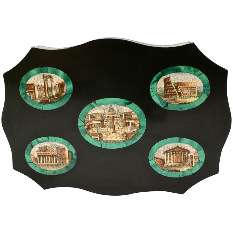 Grand Tour Micro Mosaic Paperweight Depicting 5 Ancient Roman Monuments For Sale