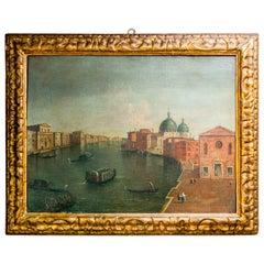 Grand Tour Mid-18th Century Rectangular Venice Framed Oil on Canvas Painting