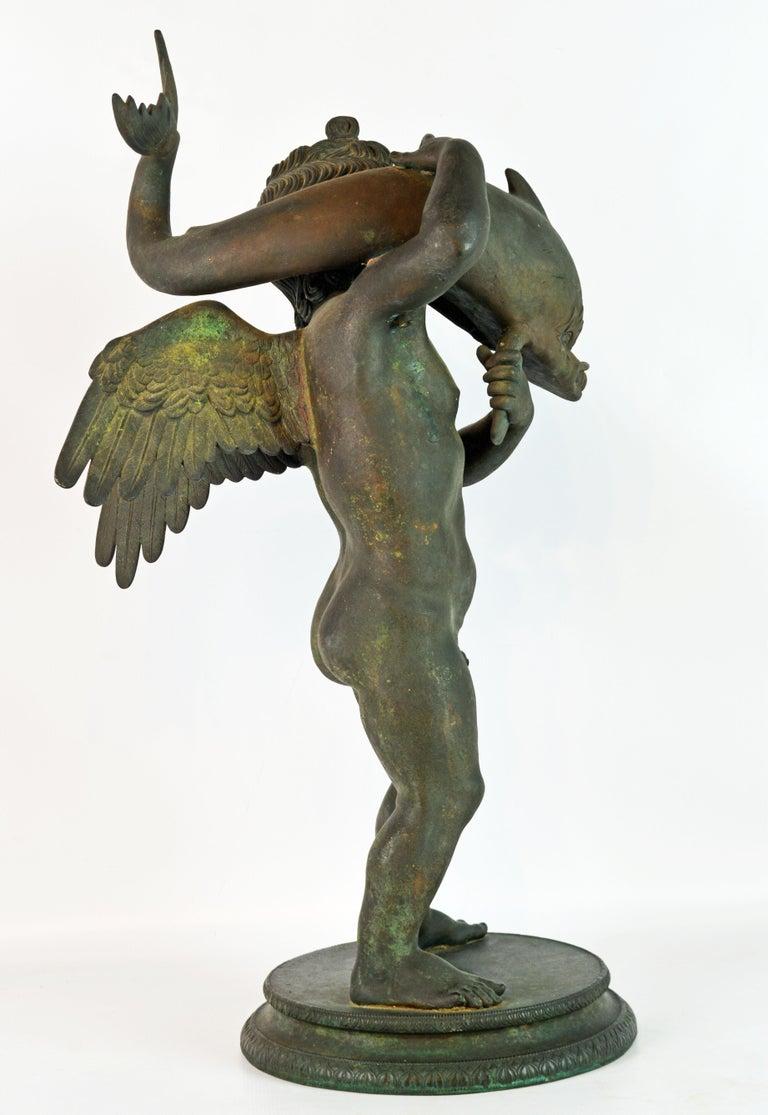 Italian Grand Tour Neapolitan Bronze Fountainhead of the 'Amore Con Delfino' For Sale