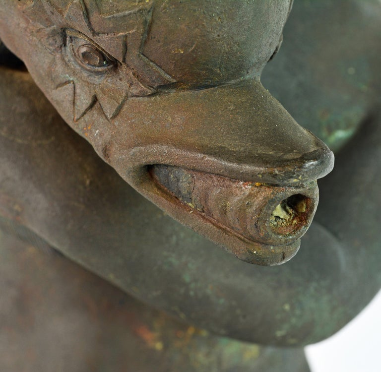 Grand Tour Neapolitan Bronze Fountainhead of the 'Amore Con Delfino' For Sale 1