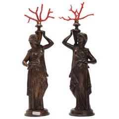 Grand Tour Neoclassical Pair of Bronze Sculptures, Italy, 1850