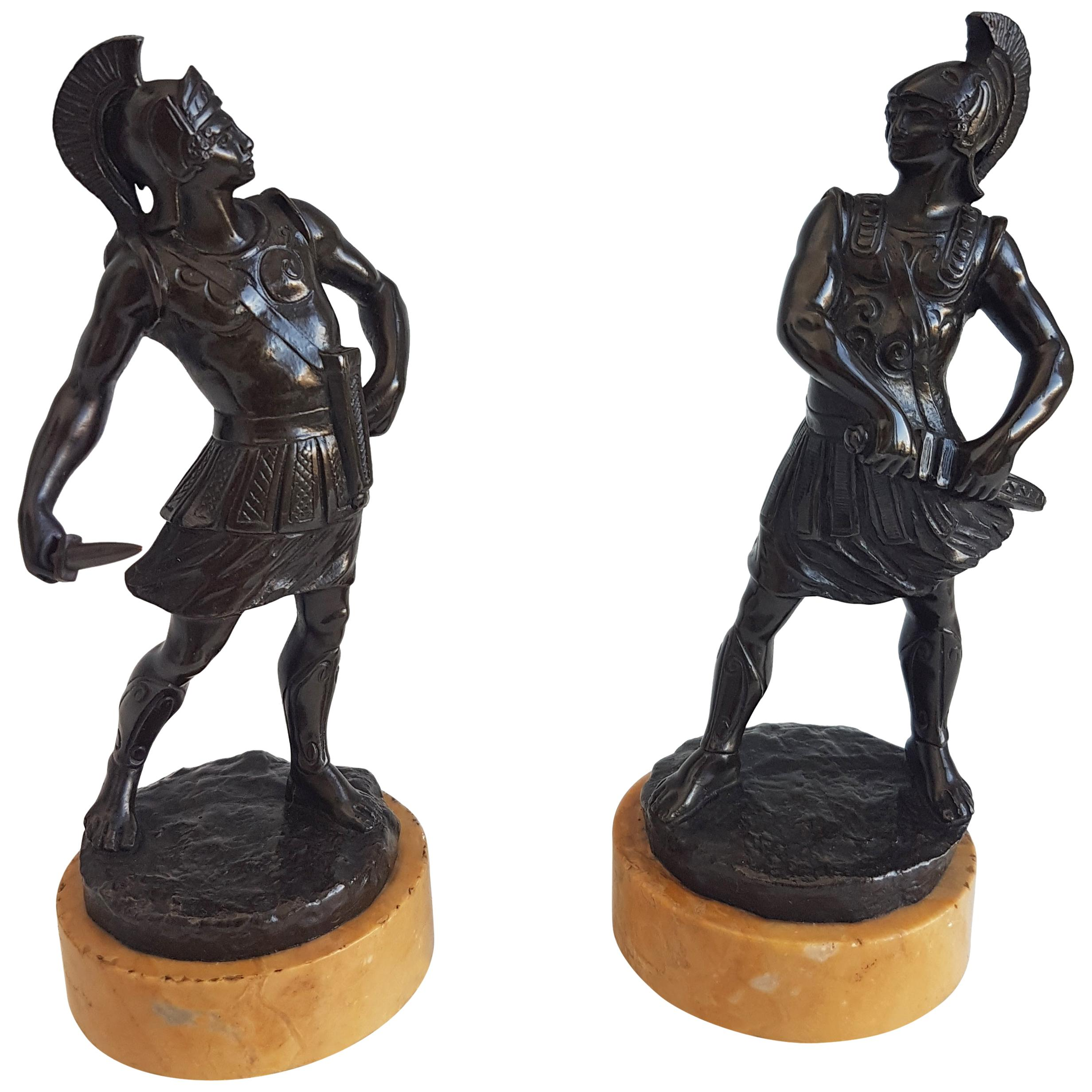 Grand Tour Pair of Bronze Gladiators on Sienna Marble Bases