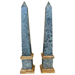 Grand Tour Pair of Green and Sienna Marble Obelisks